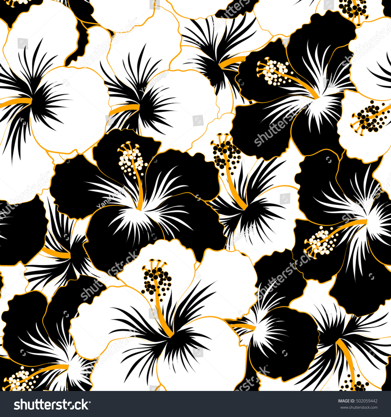 Watercolor painting effect black white hibiscus stock vector watercolor painting effect of black and white hibiscus flowers seamless pattern vector background izmirmasajfo