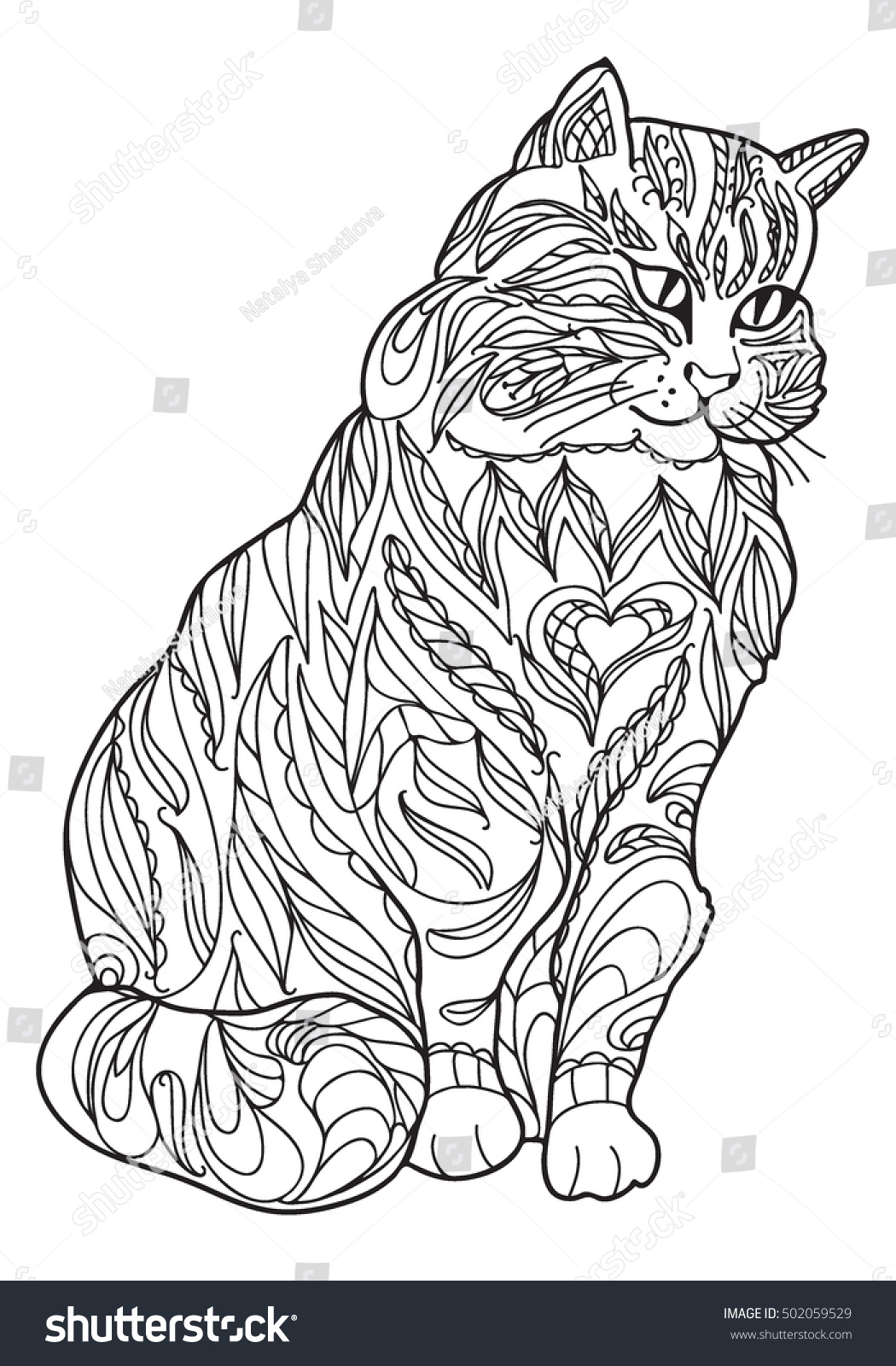 Coloring Book Hand Drawn Adults Black And White Cat In Zentangle Style