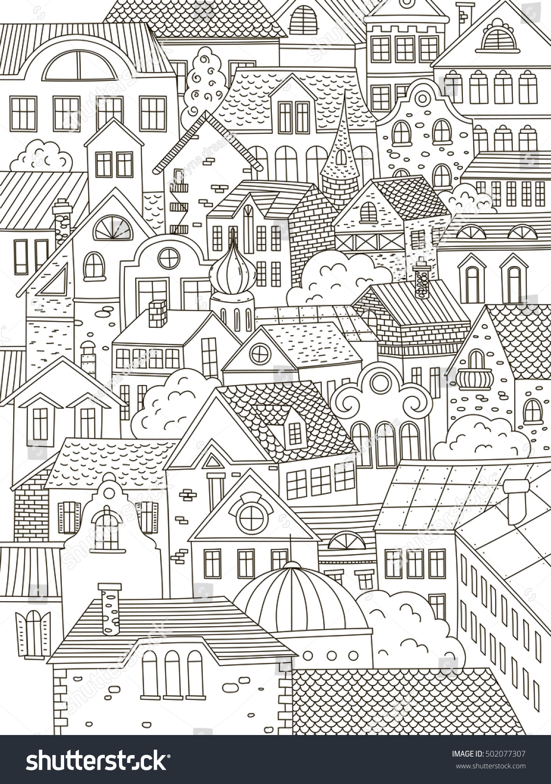 Town coloring book winter