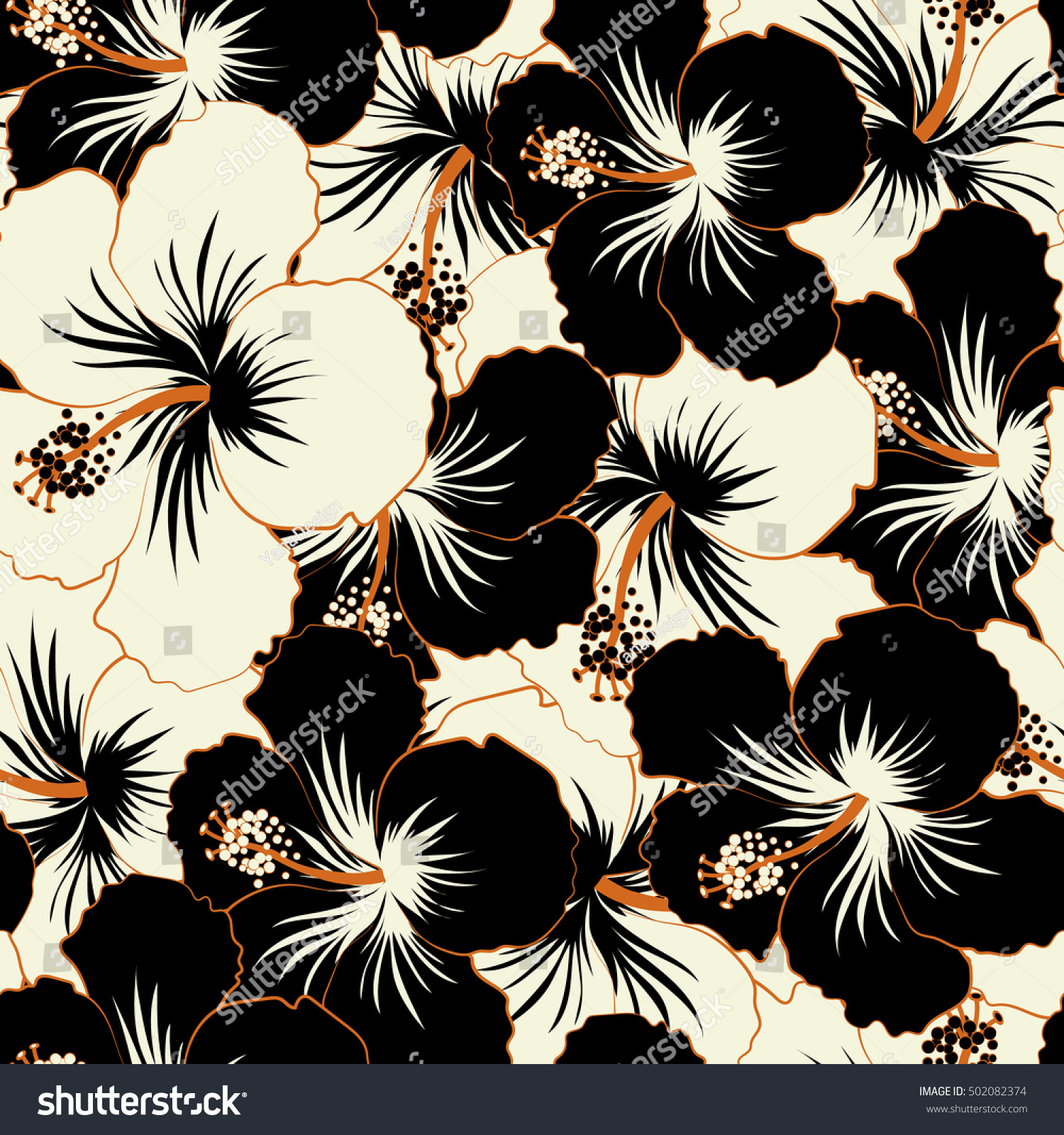 Vector Hibiscus Floral Pattern Floral Seamless Stock Vector Royalty