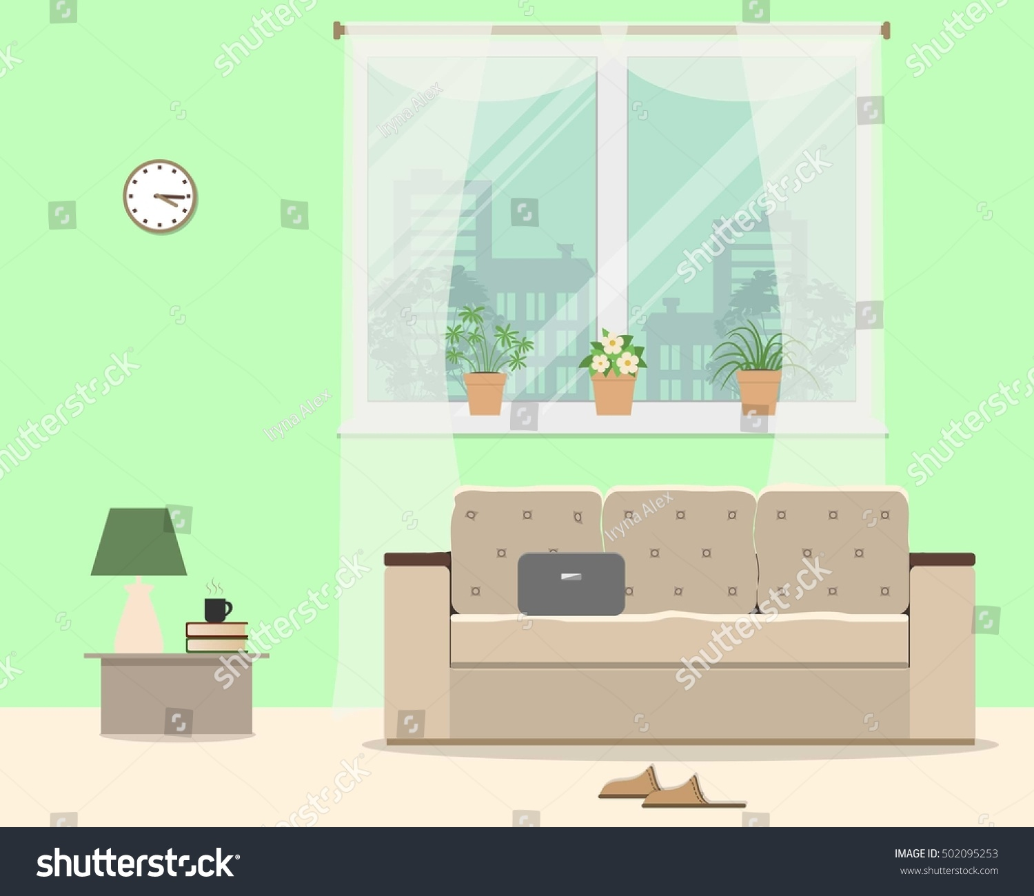 living room green color there sofa stock vector