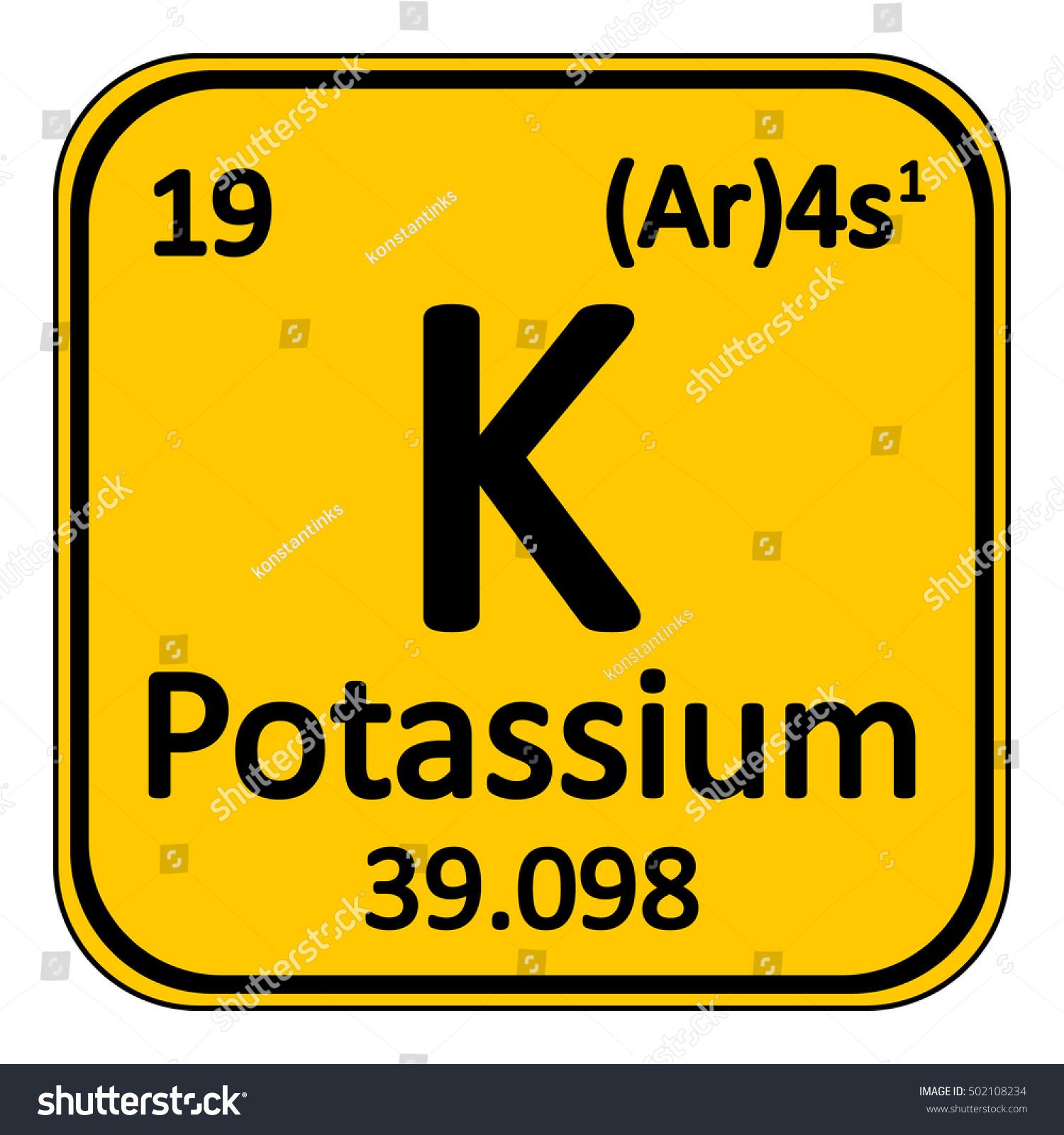 Periodic Table Element Potassium Icon Stock Vector