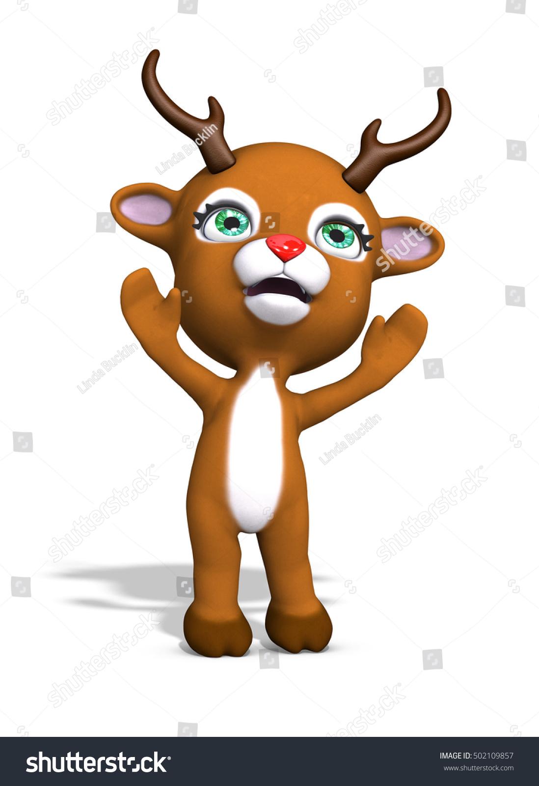 cute baby reindeer reaching hug 3d stock illustration 502109857