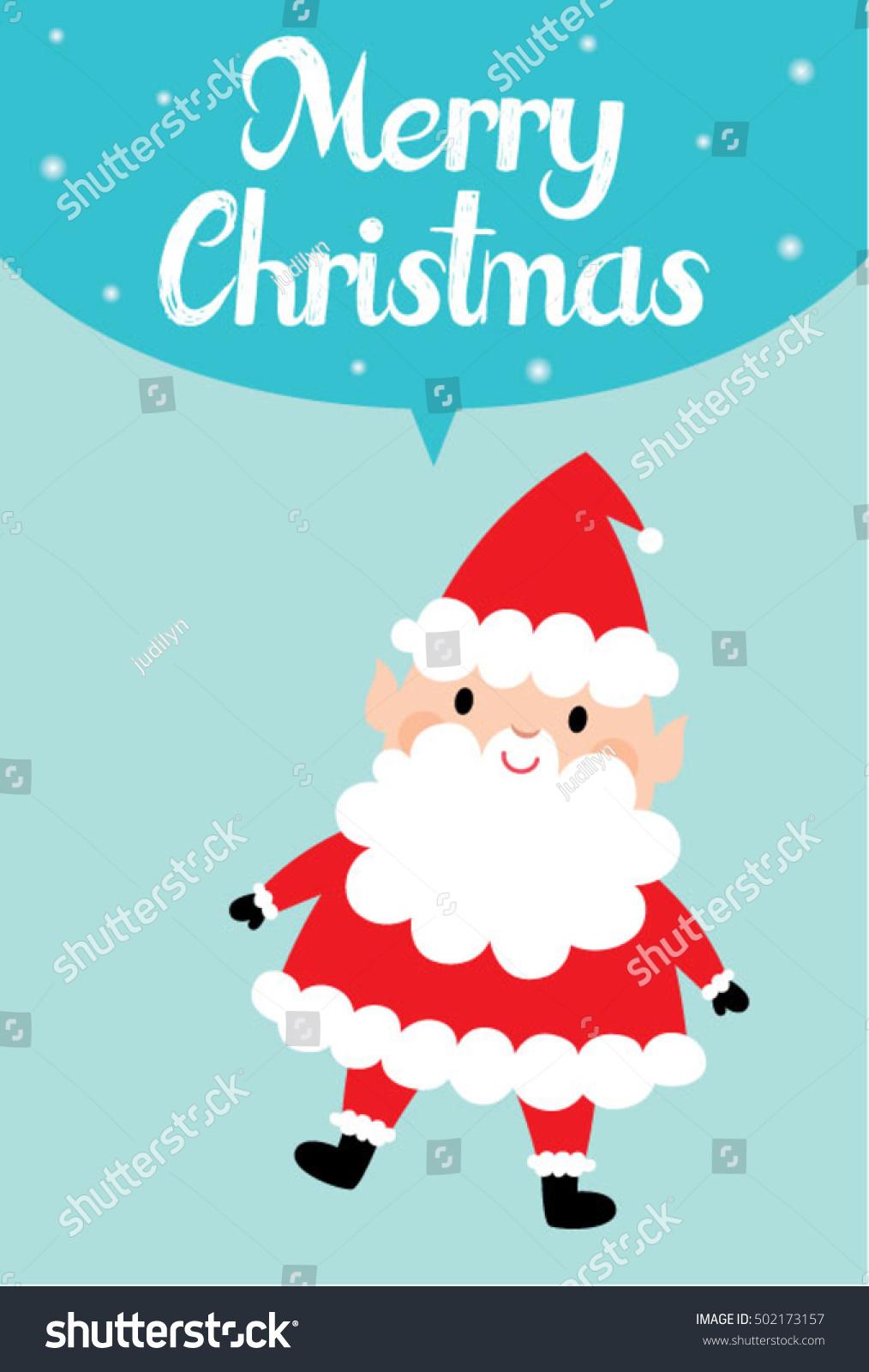 Cute Santa Claus Merry Christmas Greeting Card Vector Ez Canvas