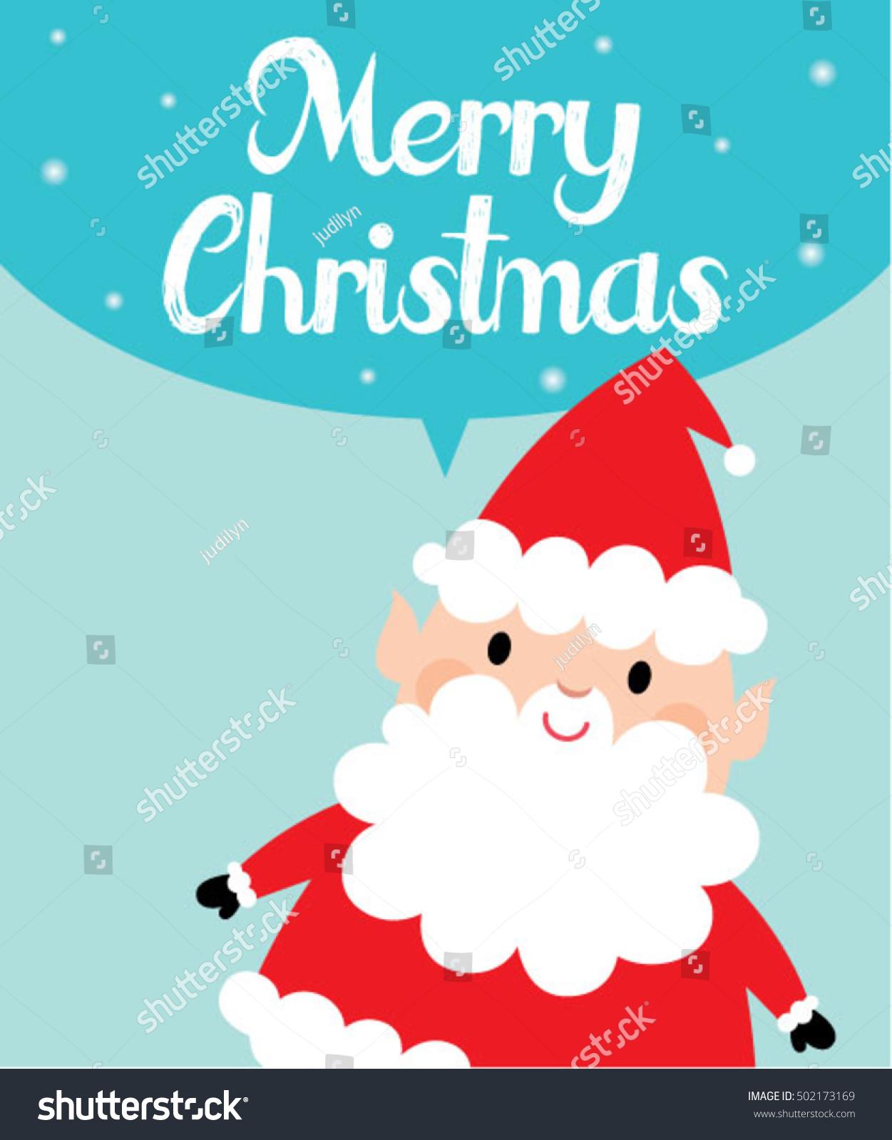 Xmas Card With Cute Santa Claus Vector Cartoon On Snow Background