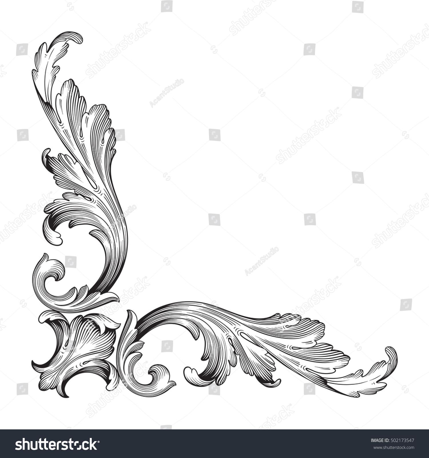 Corner Scroll Designs: Vintage Baroque Corner Scroll Ornament Engraving Stock