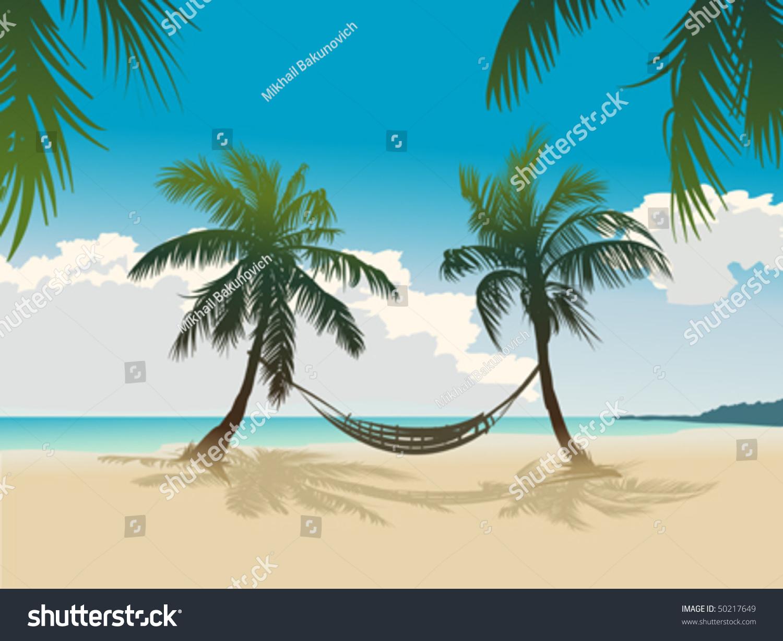 hammock tropical beach clip art � cliparts