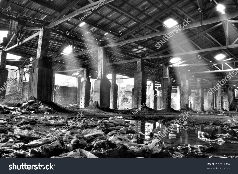 Interior abandoned warehouse black white hdr stock photo edit now