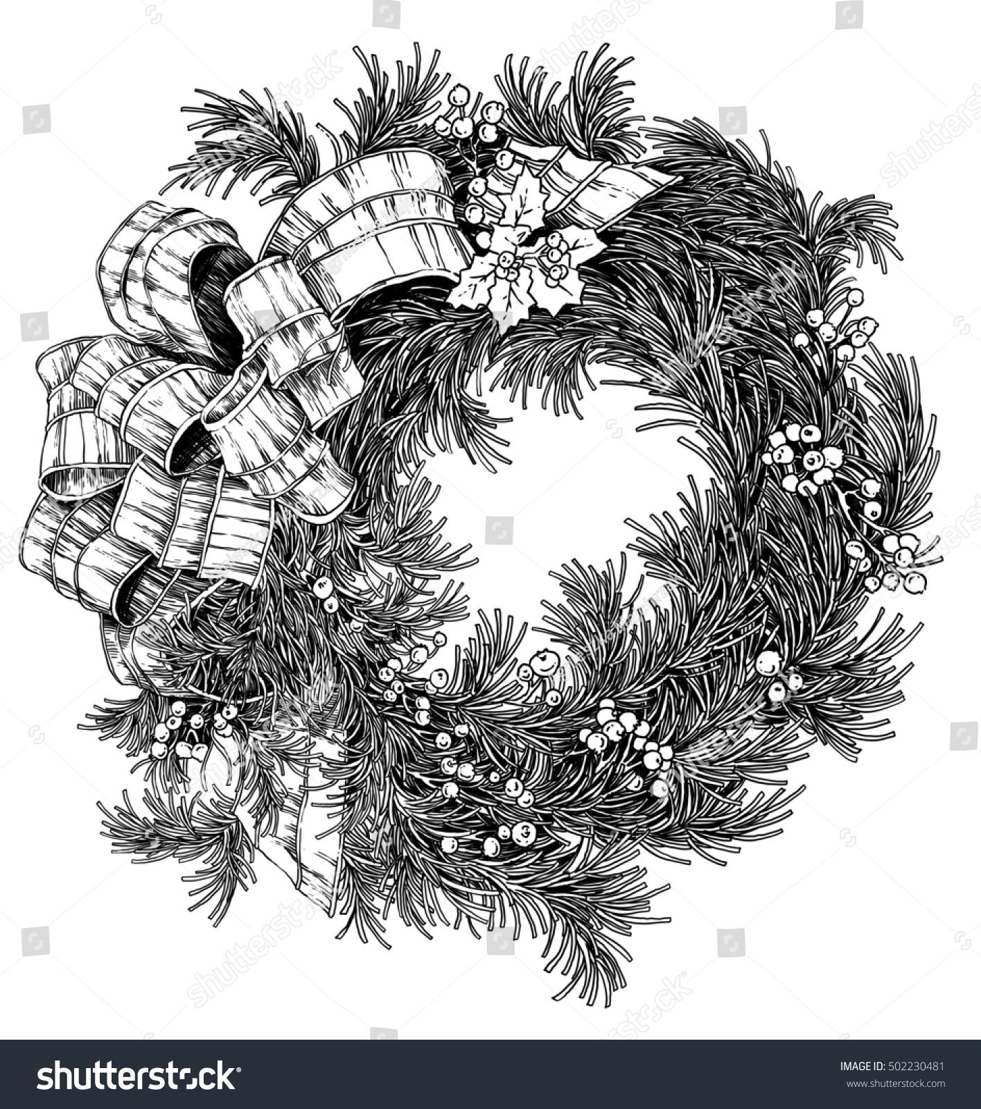 Hand Drawn Black White Christmas Advent Stock Illustration