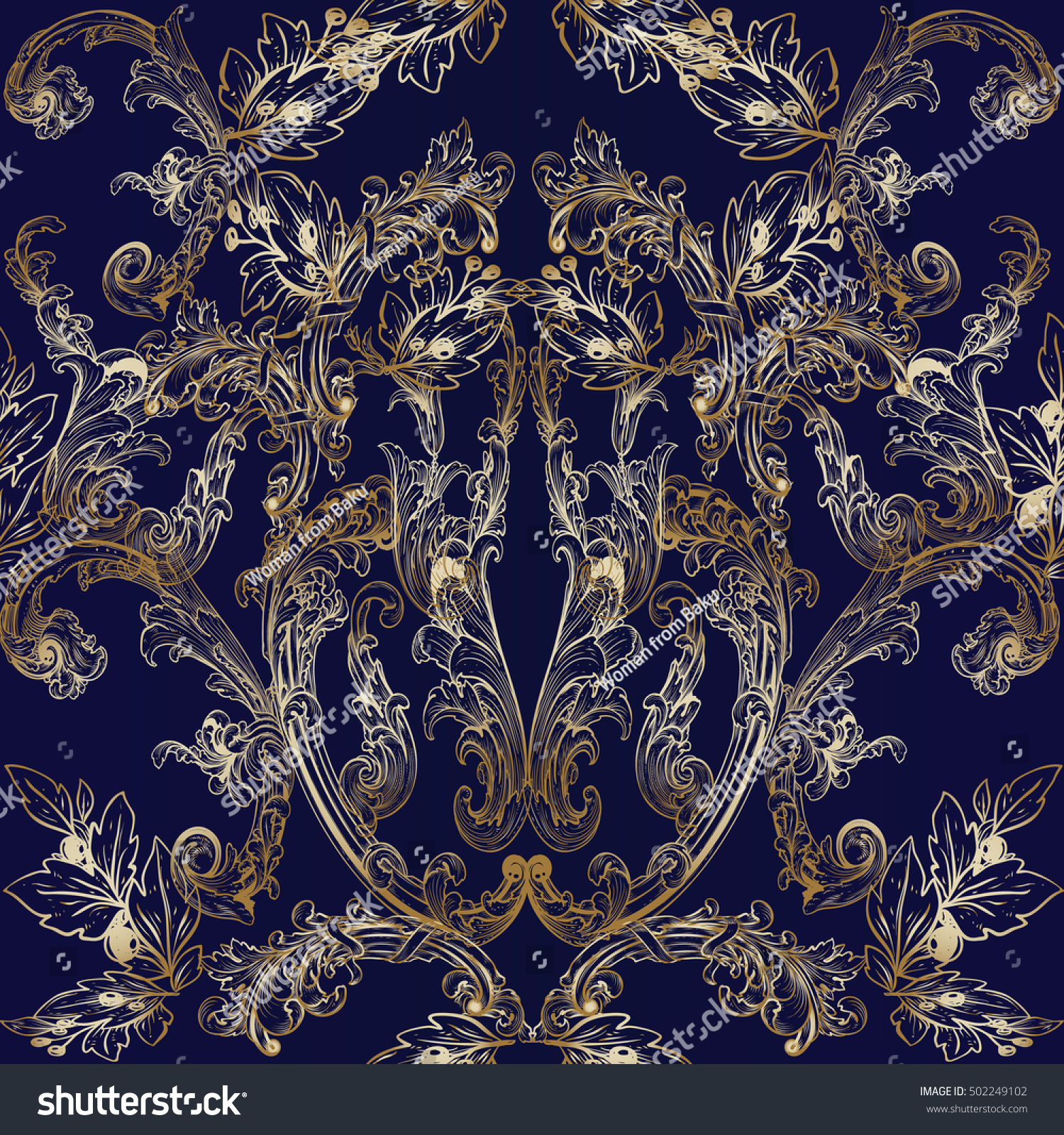 Luxury Baroque Damask Floral Dark Blue Vector Seamless Pattern Wallpaper Illustration With Vintage Antique Decorative Gold