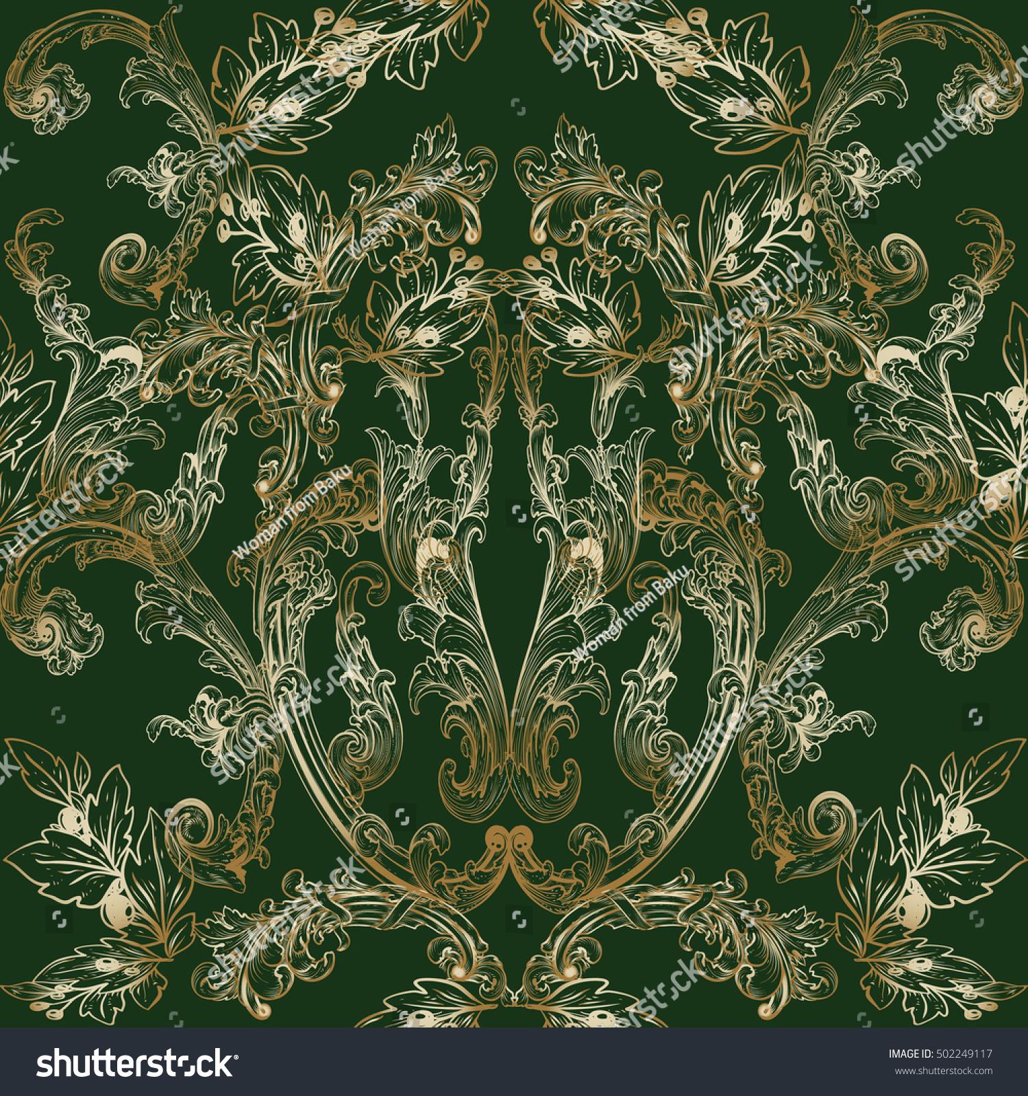 Elegant Baroque Damask Floral Dark Green Royalty Free Stock Image