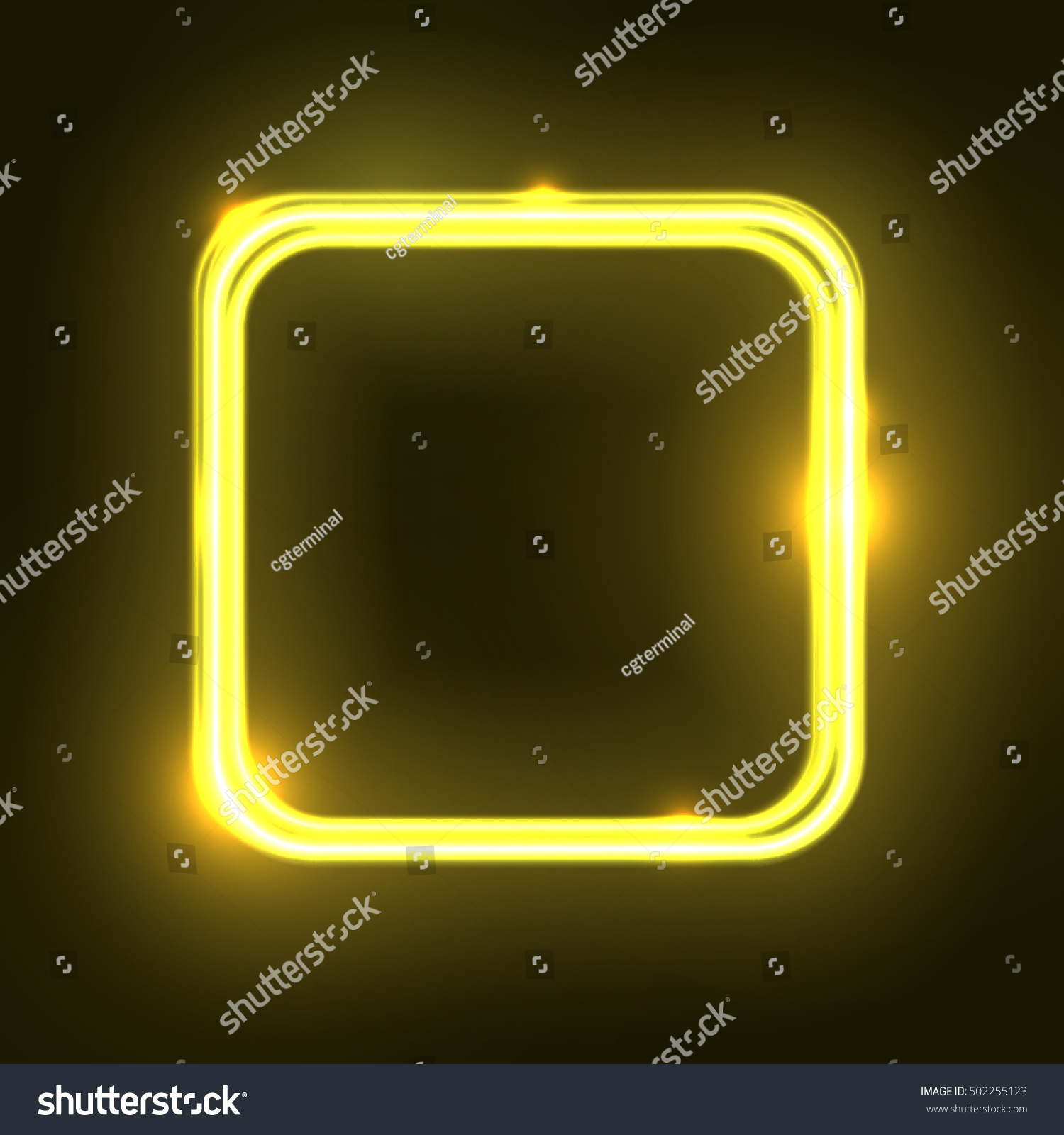 Yellow Abstract Neon Square Shape Glowing Stock Vector Royalty Free