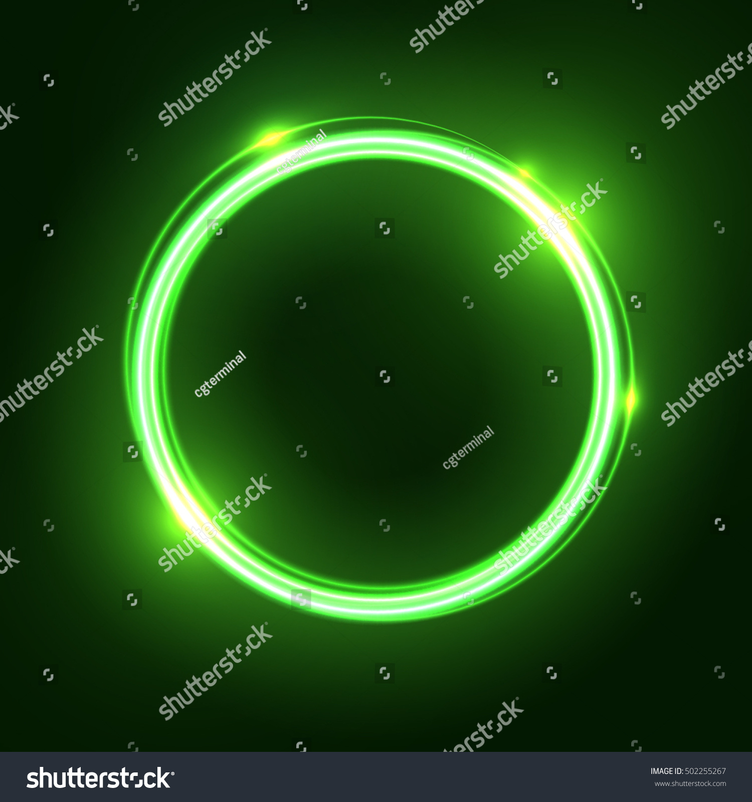Green Abstract Neon Round Shape Glowing Stock Vector Royalty Free