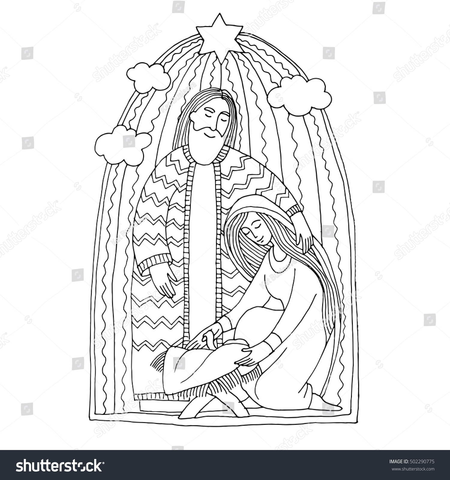 Vector Coloring Book Christmas Scene Holy Family Joseph Mary And Newborn Jesus