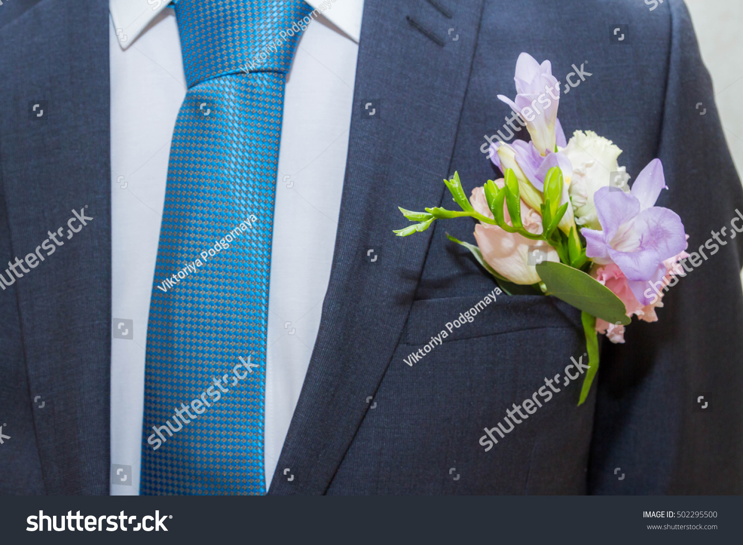 Small Bouquet Flowers Grooms Suit Stock Photo 502295500 - Shutterstock