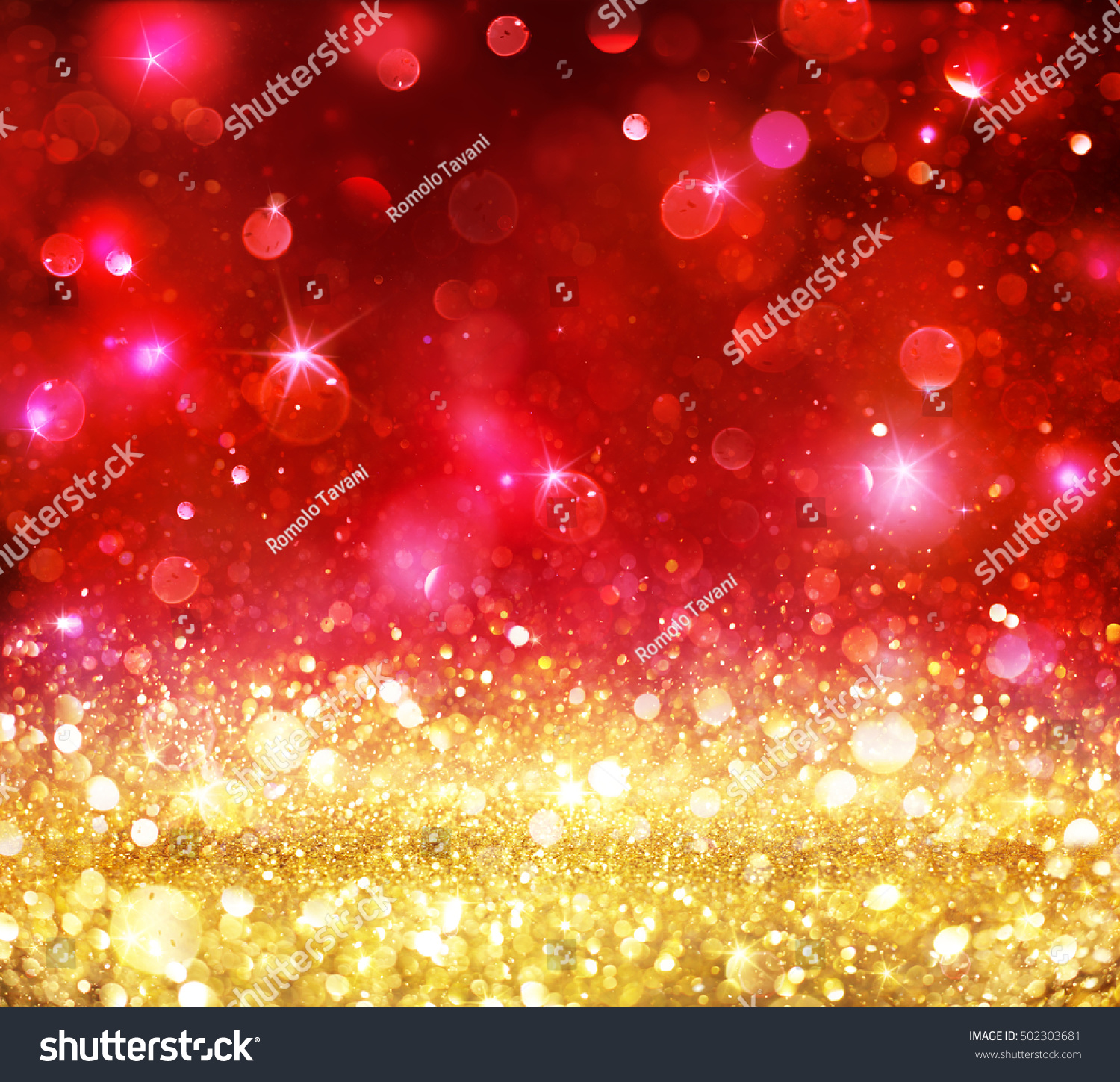 Christmas Bokeh Gold Glitter With Shining Red Backdrop
