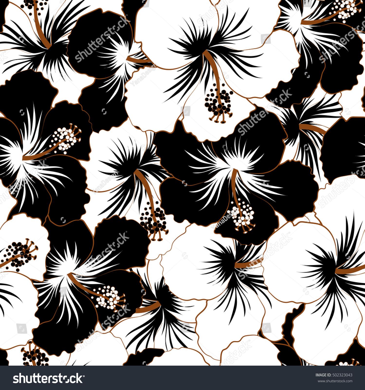 Seamless Exotic Pattern Black White Tropical Stock Illustration