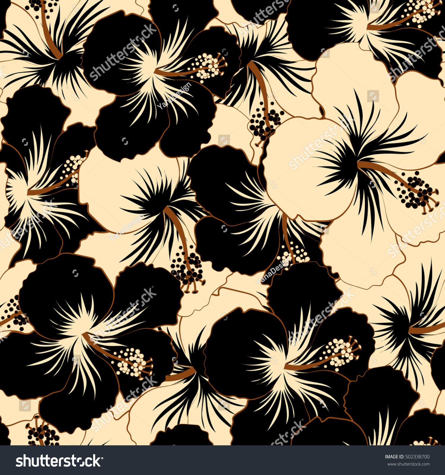 Beige black ornament simple hibiscus flowers stock illustration beige and black ornament of simple hibiscus flowers abstract seamless pattern for design and textile izmirmasajfo