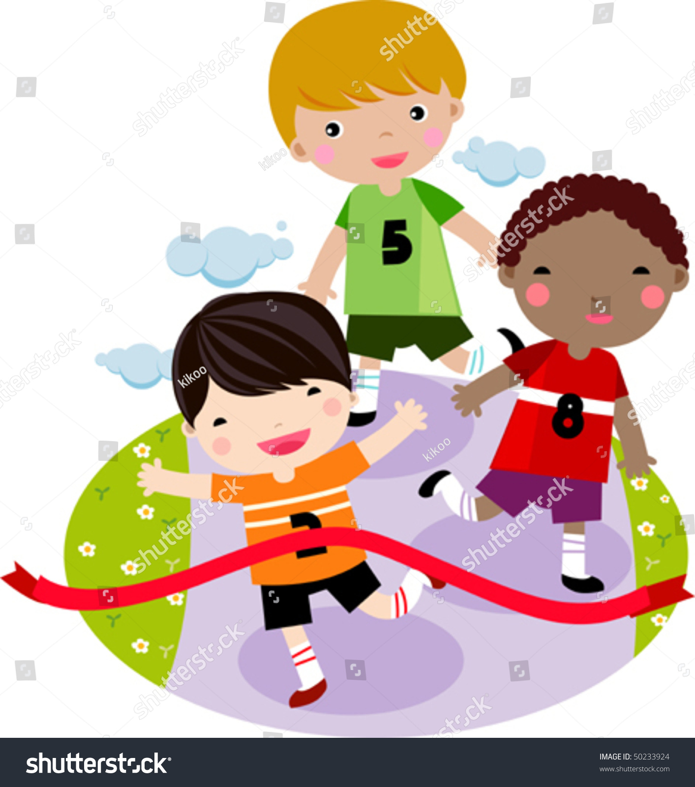 children running together race stock vector 50233924