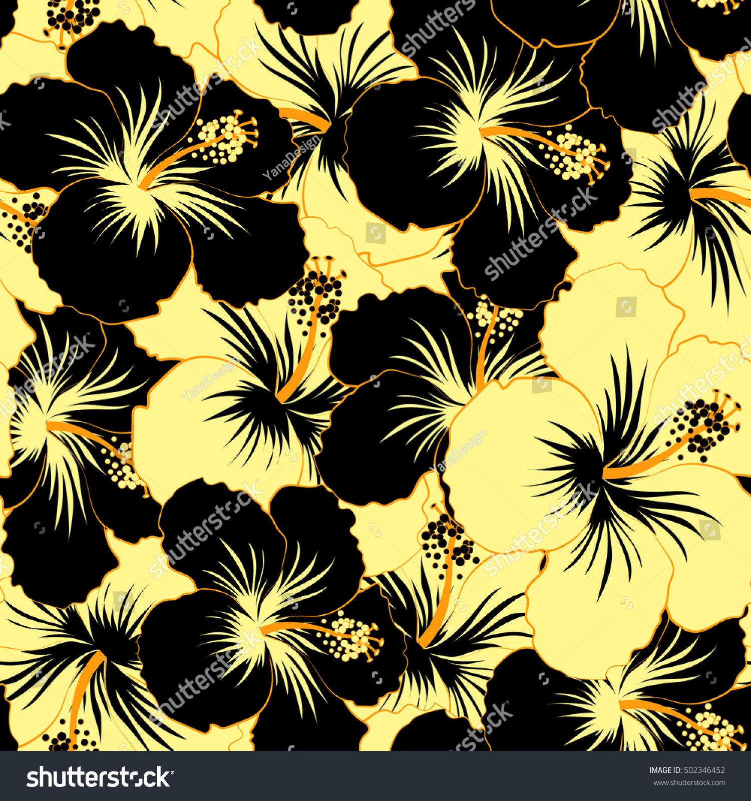 Seamless Floral Pattern Seamless Pattern Black Stock Illustration