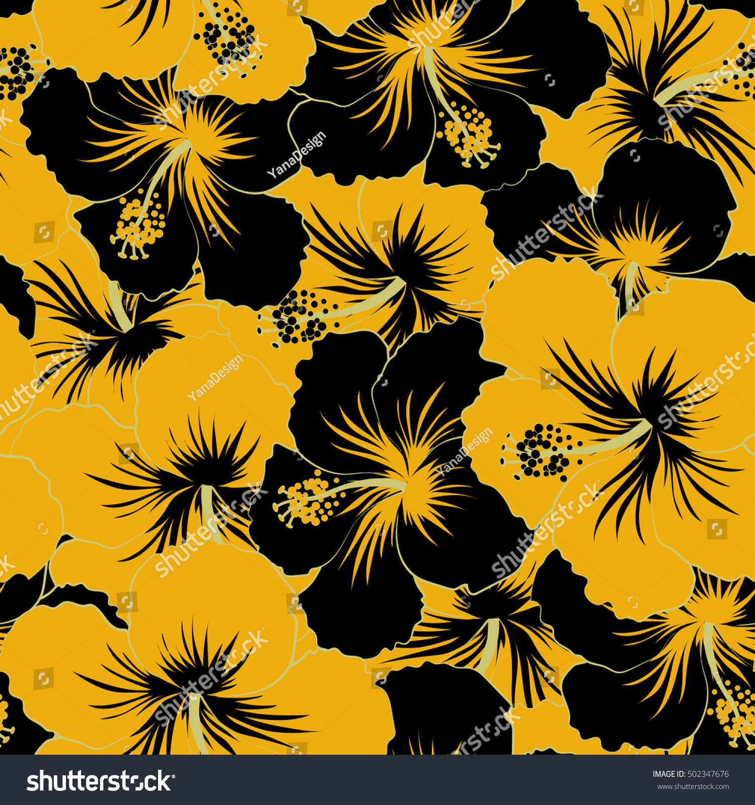 Hibiscus flower seamless pattern black yellow stock illustration hibiscus flower seamless pattern in black and yellow colors izmirmasajfo