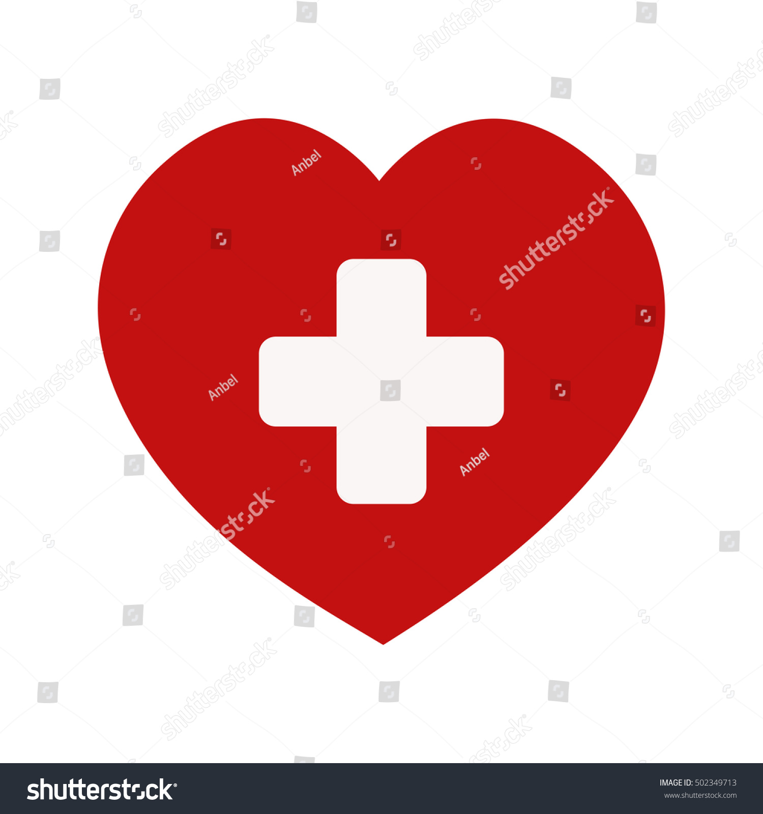 Red Heart Medical Cross Icon Symbol Stock Illustration 502349713