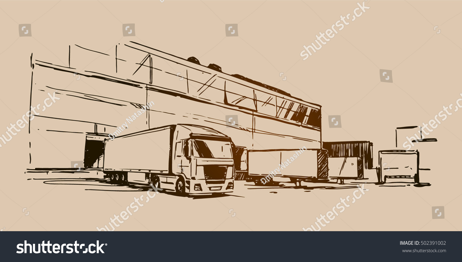 Warehouse and a semi-trailer truck sketch