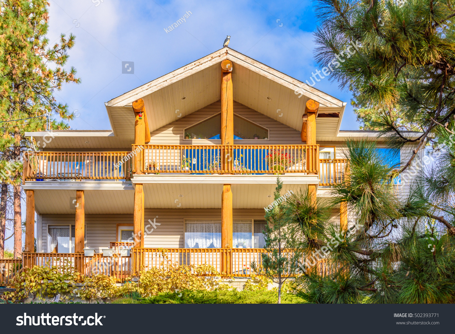 top house nice window balcony veranda stock photo 502393771 shutterstock. Black Bedroom Furniture Sets. Home Design Ideas