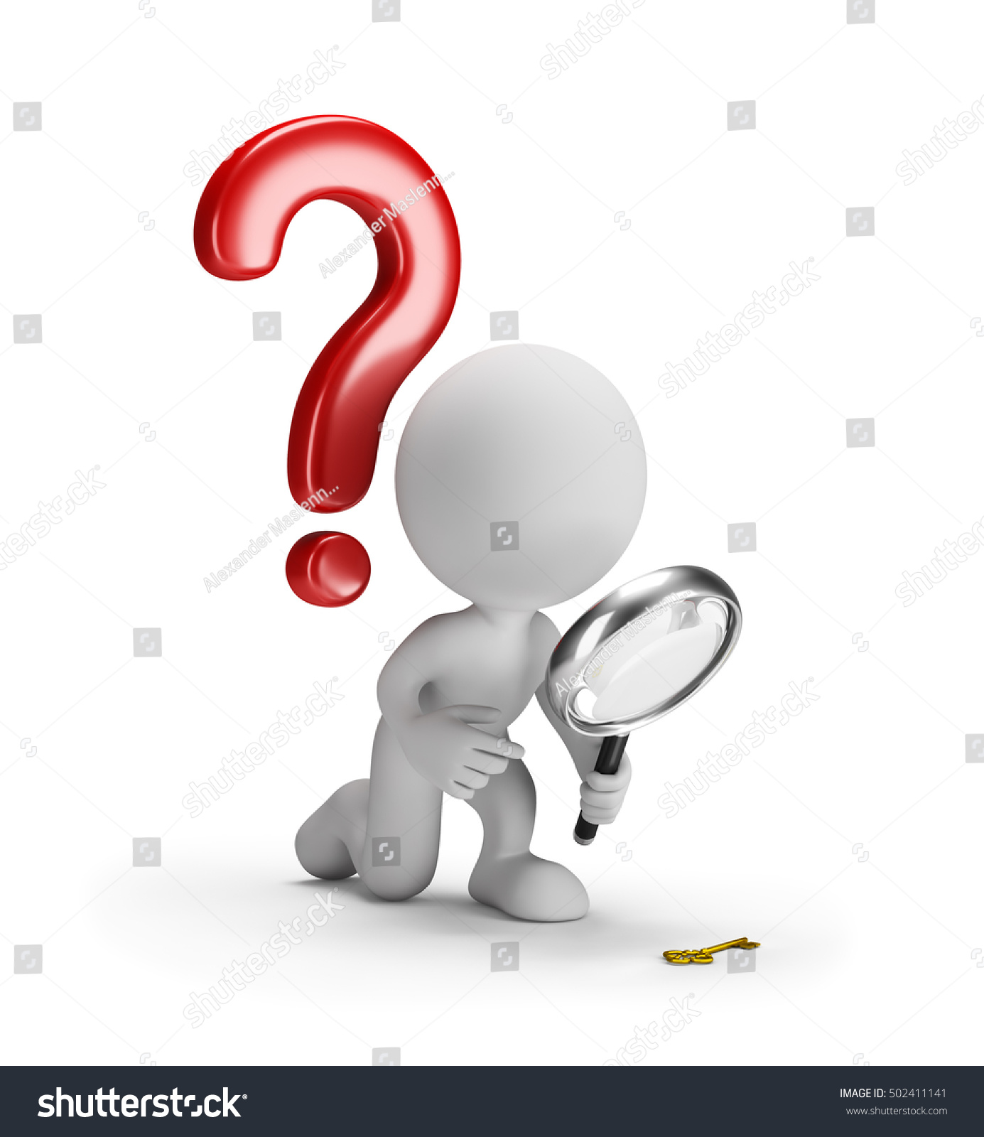 3d person with magnifying glass and question mark stock images image - 3d Man With A Magnifying Glass And A Question Mark 3d Image White Background