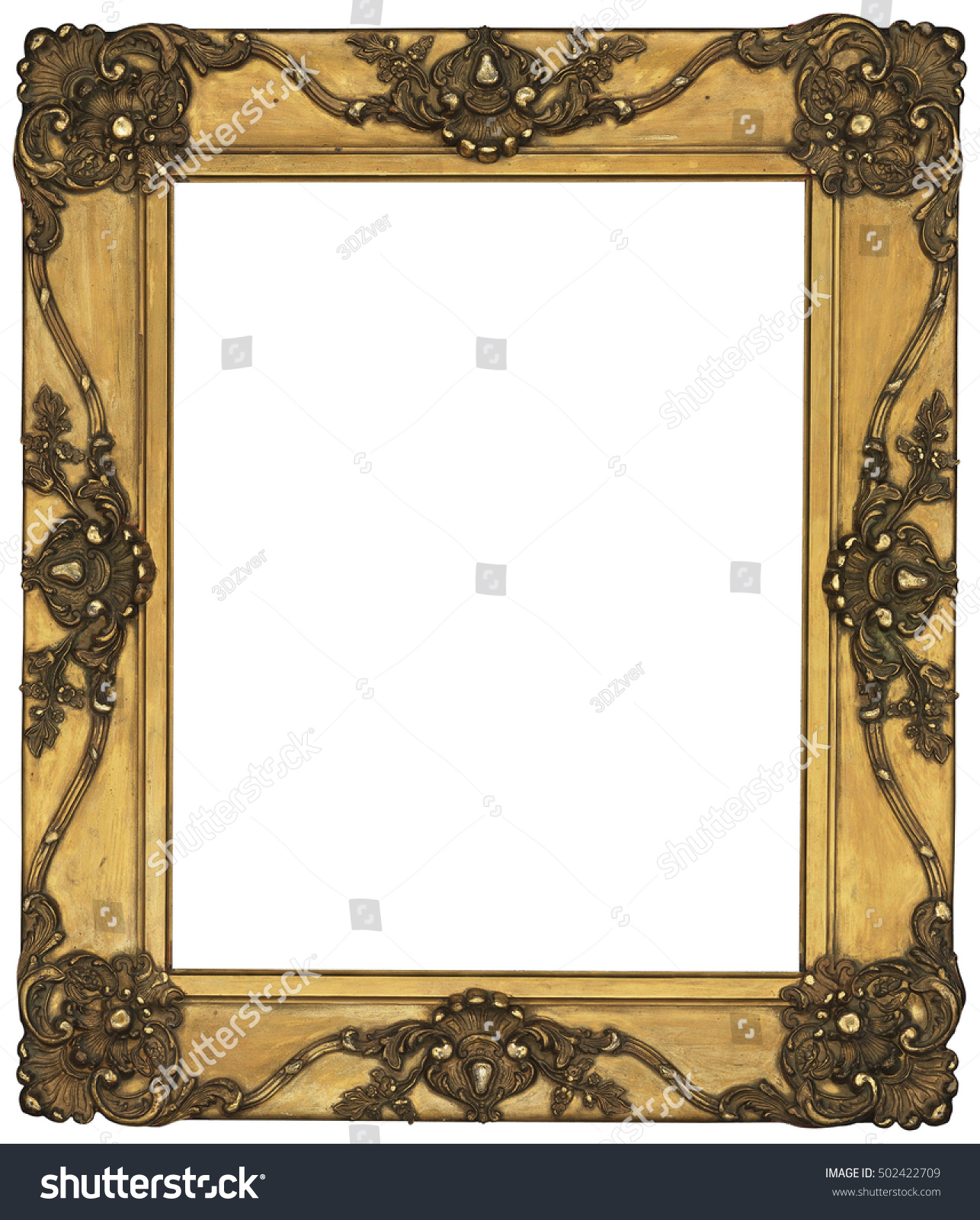 Antique Classic Golden Frame Isolated On Stock Photo (Royalty Free ...