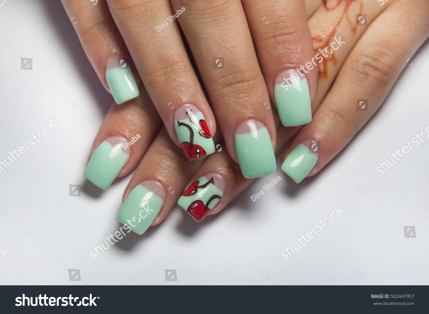 Summer Mint Manicure Cherries On Ring Stock Photo (Royalty Free ...
