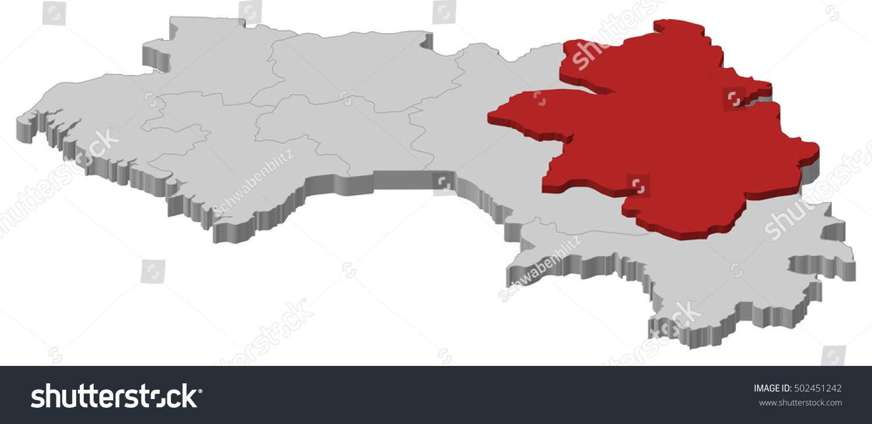 Map Guinea Kankan 3dillustration Stock Vector 502451242 Shutterstock
