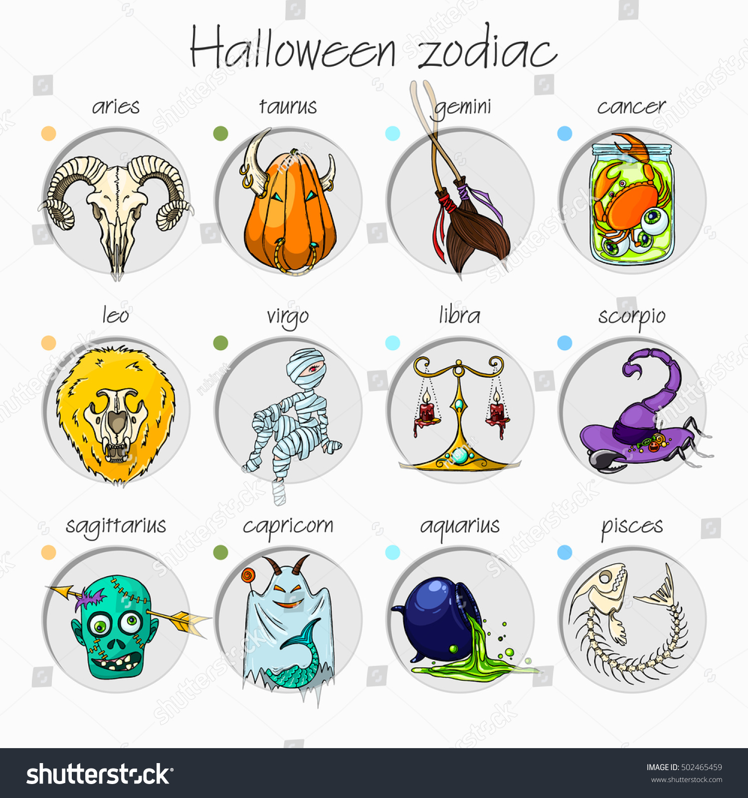 Colorful Funny Halloween Zodiac Signs All Stock Vector Royalty Free
