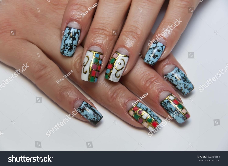 Manicure Blue Cracelures Cracke On Long Stock Photo (100% Legal ...
