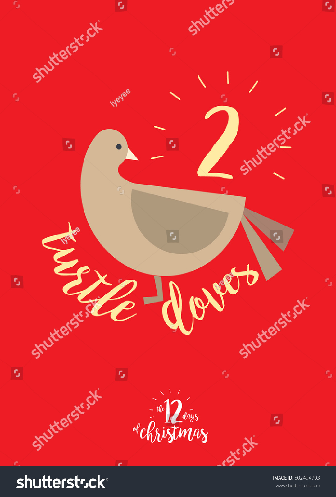 turtle dove template - the second day of christmas of the twelve days of