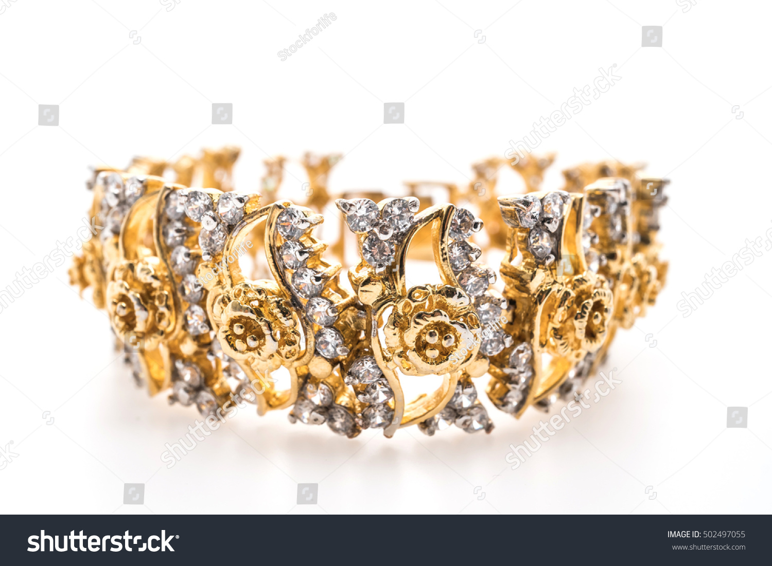 Beautiful Luxury Gold Bracelet Diamond Jewelry Stock Photo ...
