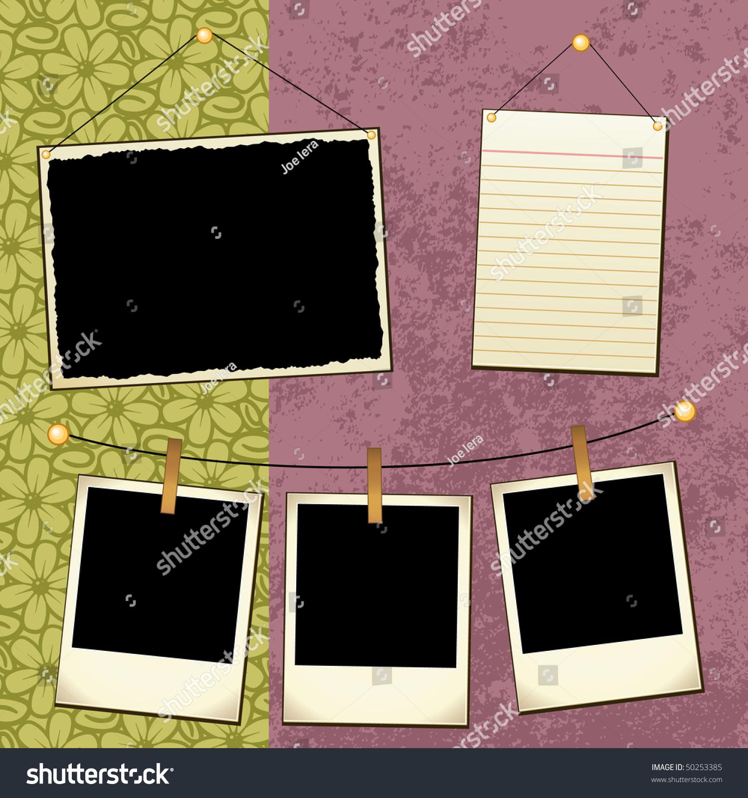 Scrapbook Template Stock Vector 50253385 Shutterstock
