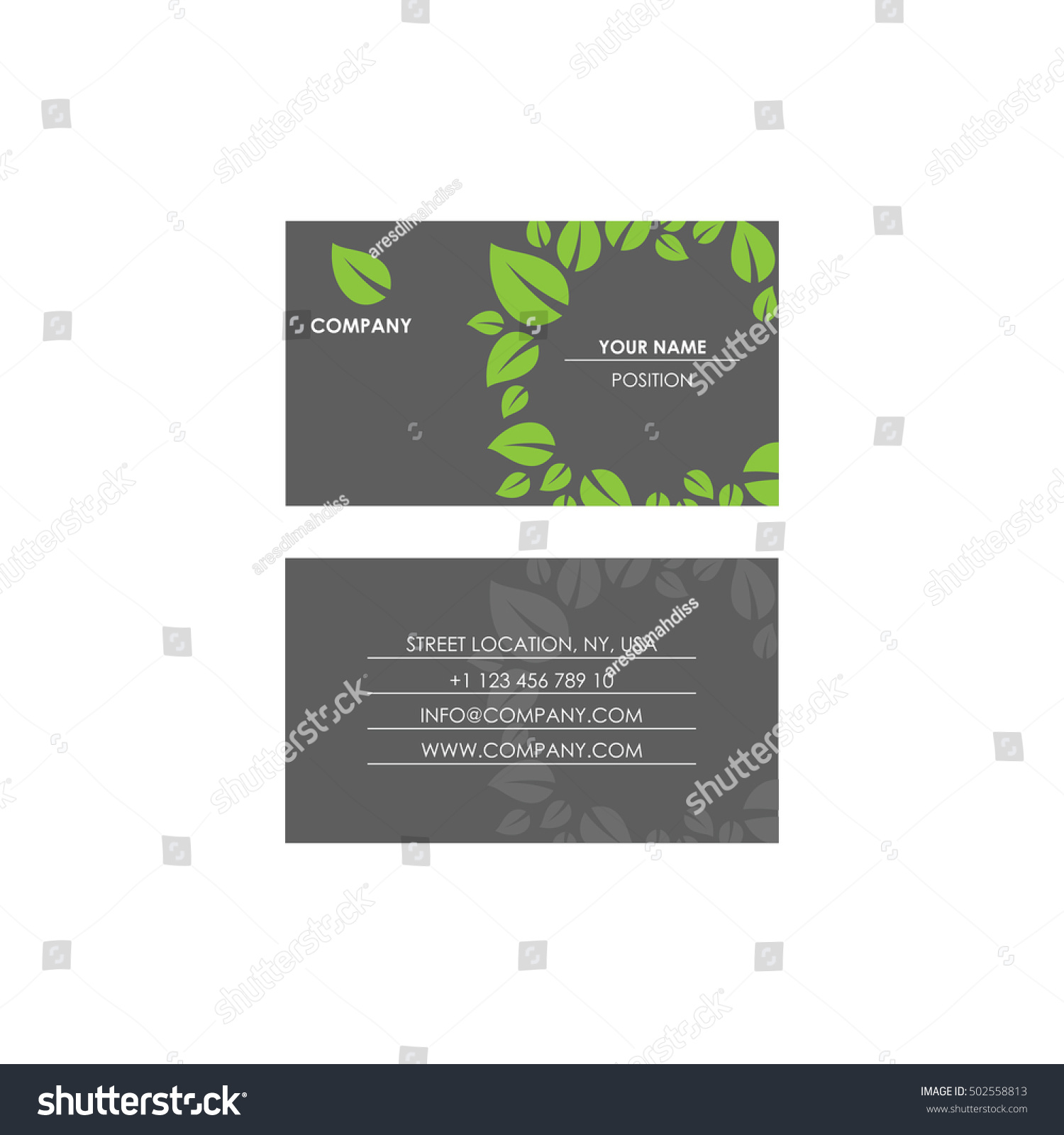 Nature Theme Business Card Stock Vector 502558813 - Shutterstock