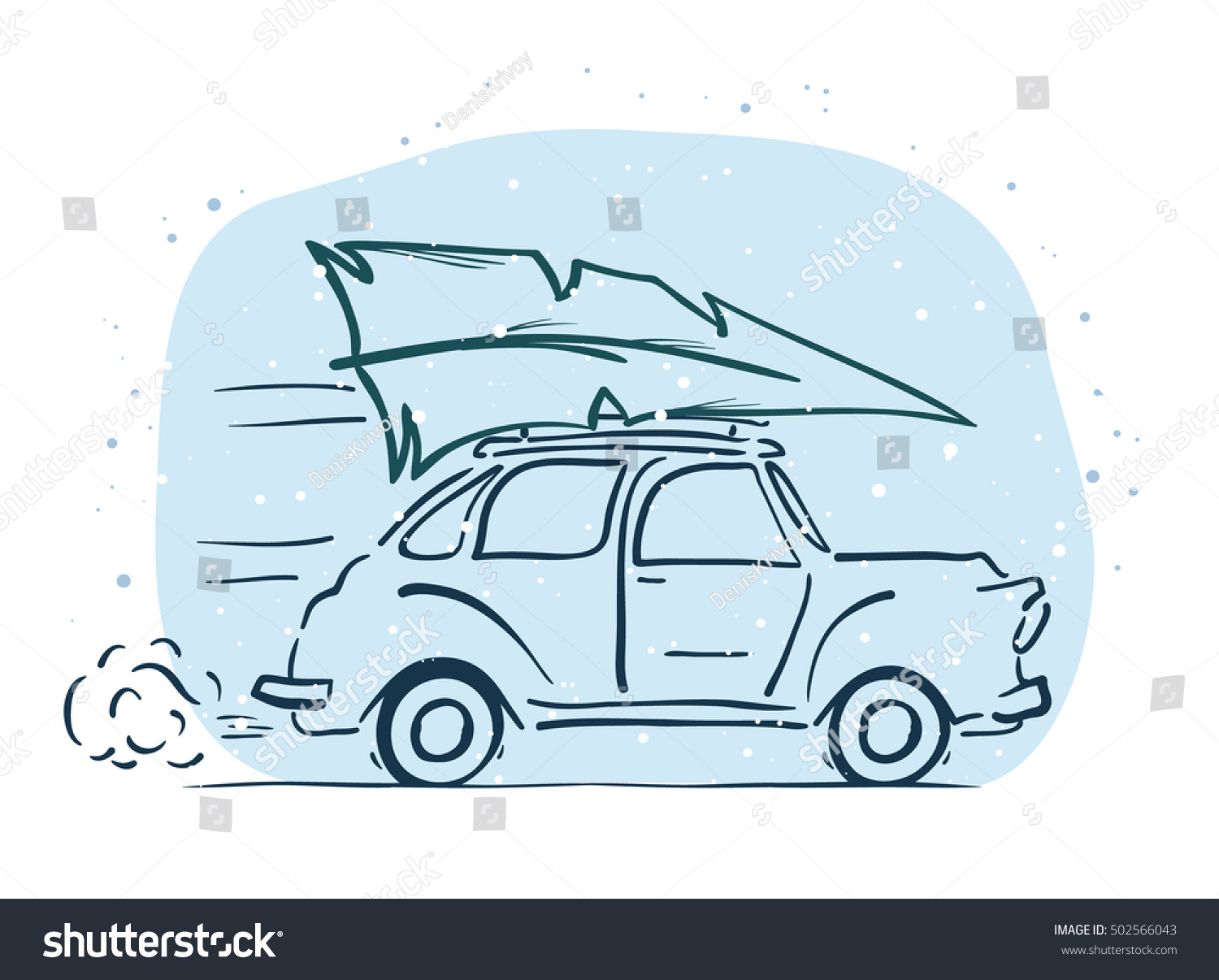 Vector Illustration Handdrawing Moving Retro Car Stock Vector ...