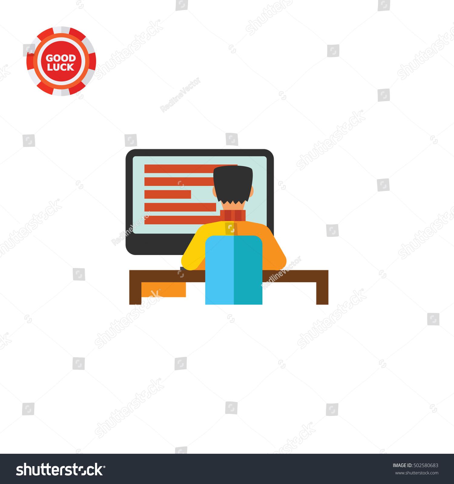 man working on desktop computer icon のベクター画像素材
