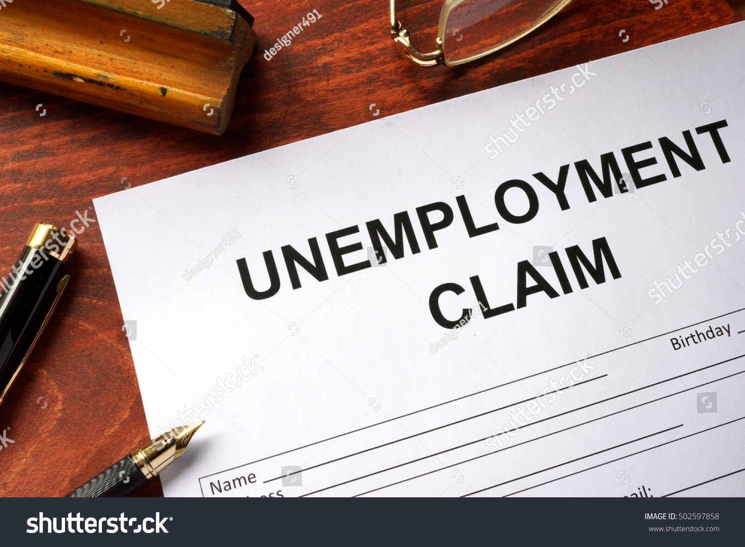 Unemployment Claim Form On Office Table Stock Photo 502597858 ...