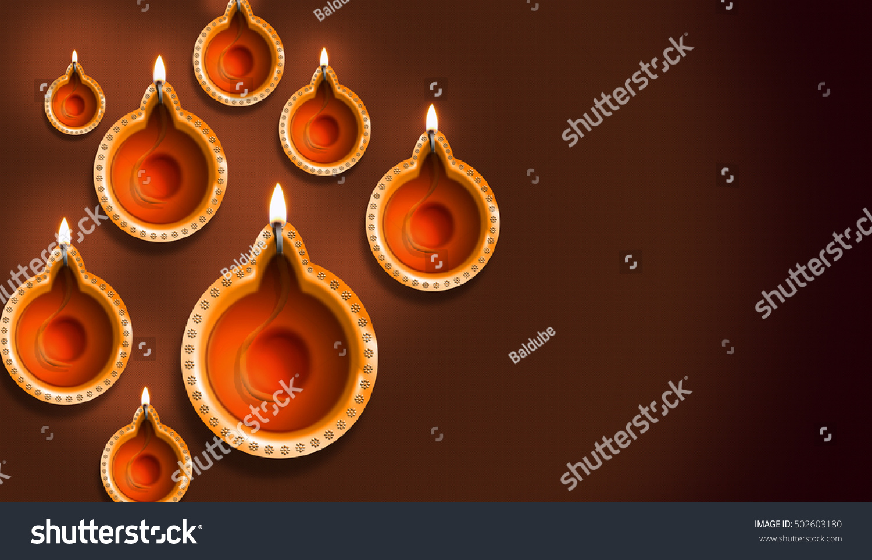 Diwali Diya 3 D Rendering Illustration Stock Illustration 502603180
