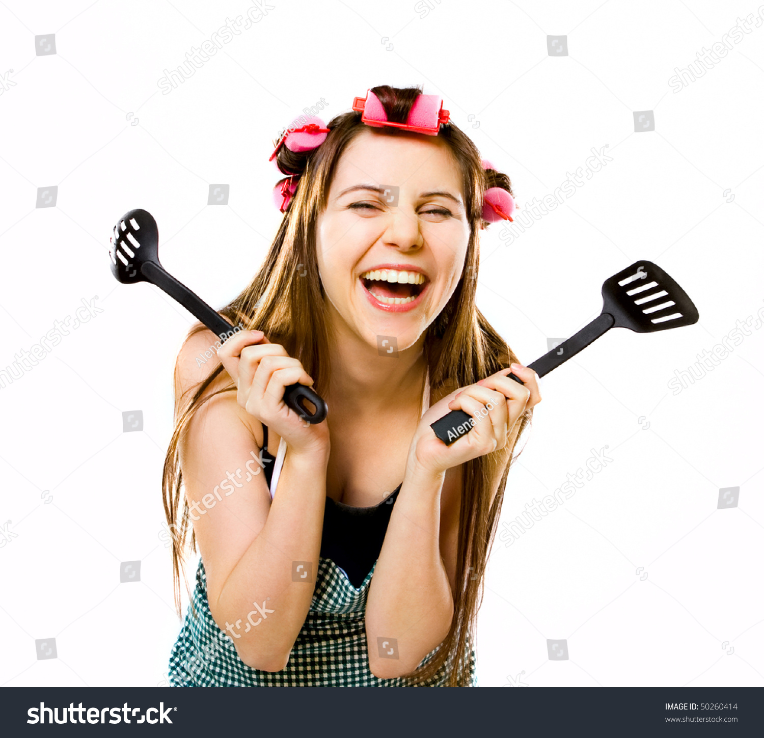 Portrait Of Crazy Housewife With Kitchen Utensils