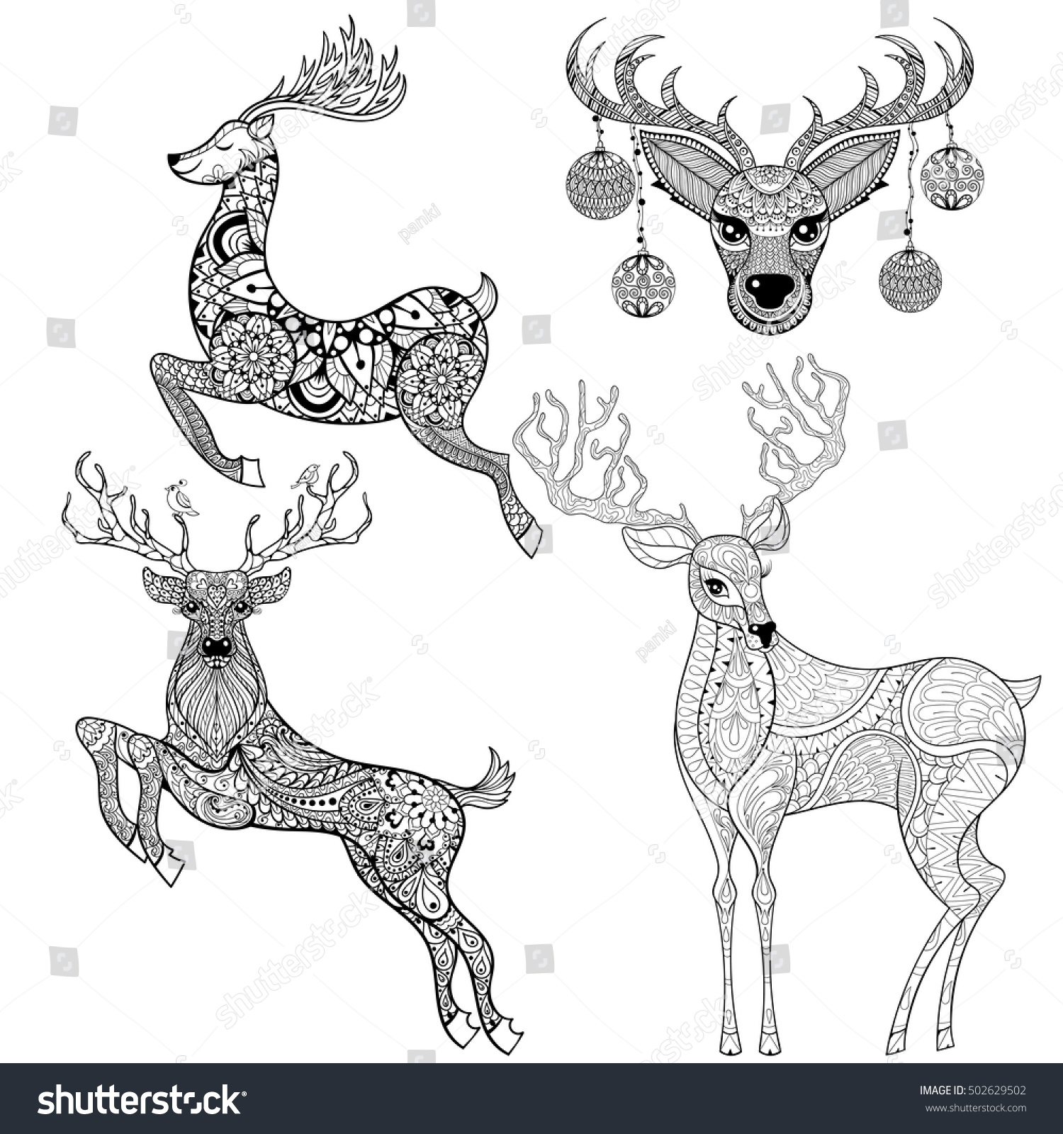 Christmas Reindeer Set Patterned Style Adult Stock Vector ...