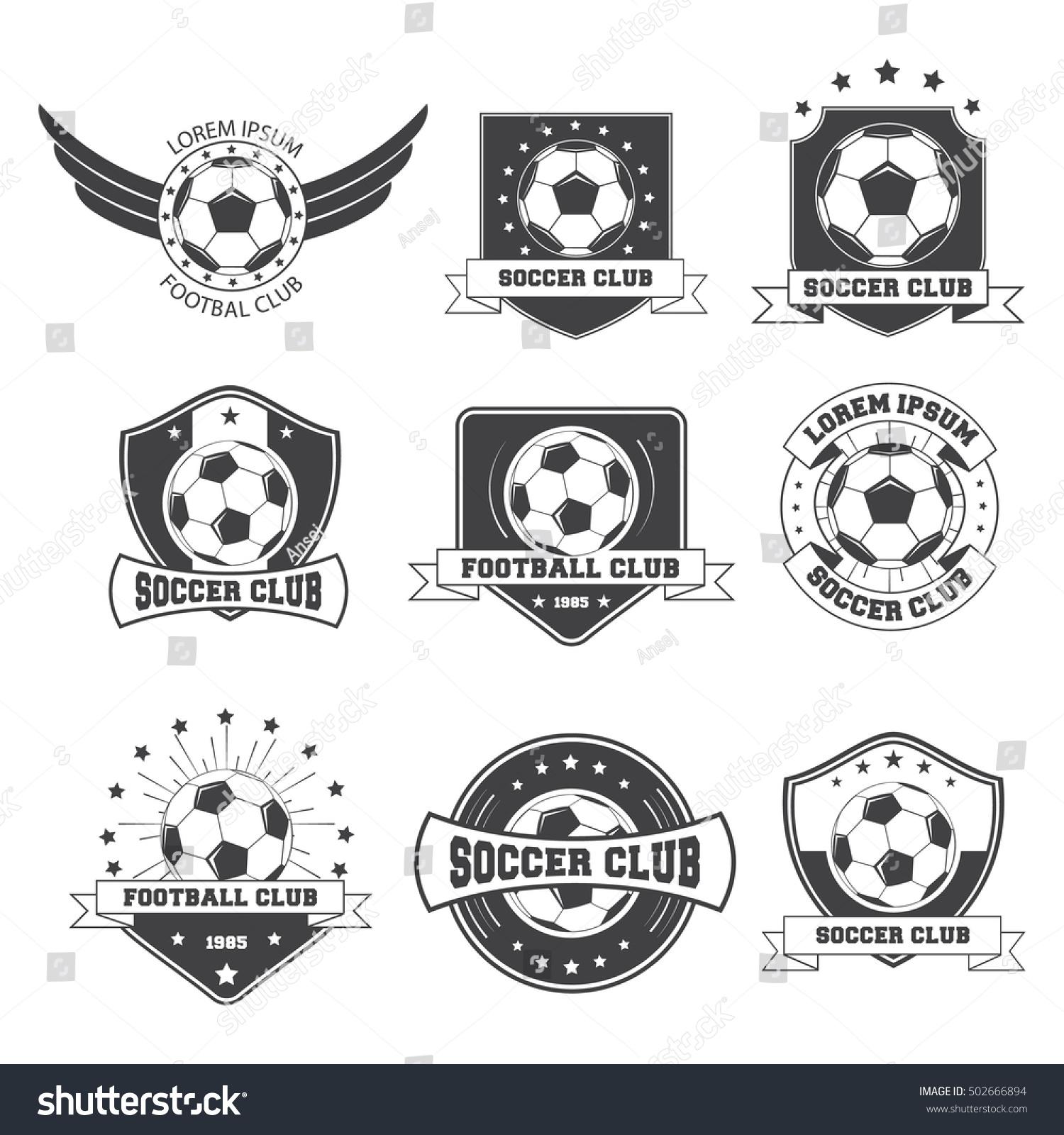 Set Of Football Vintage Soccer Crests Logos. Vector Illustration
