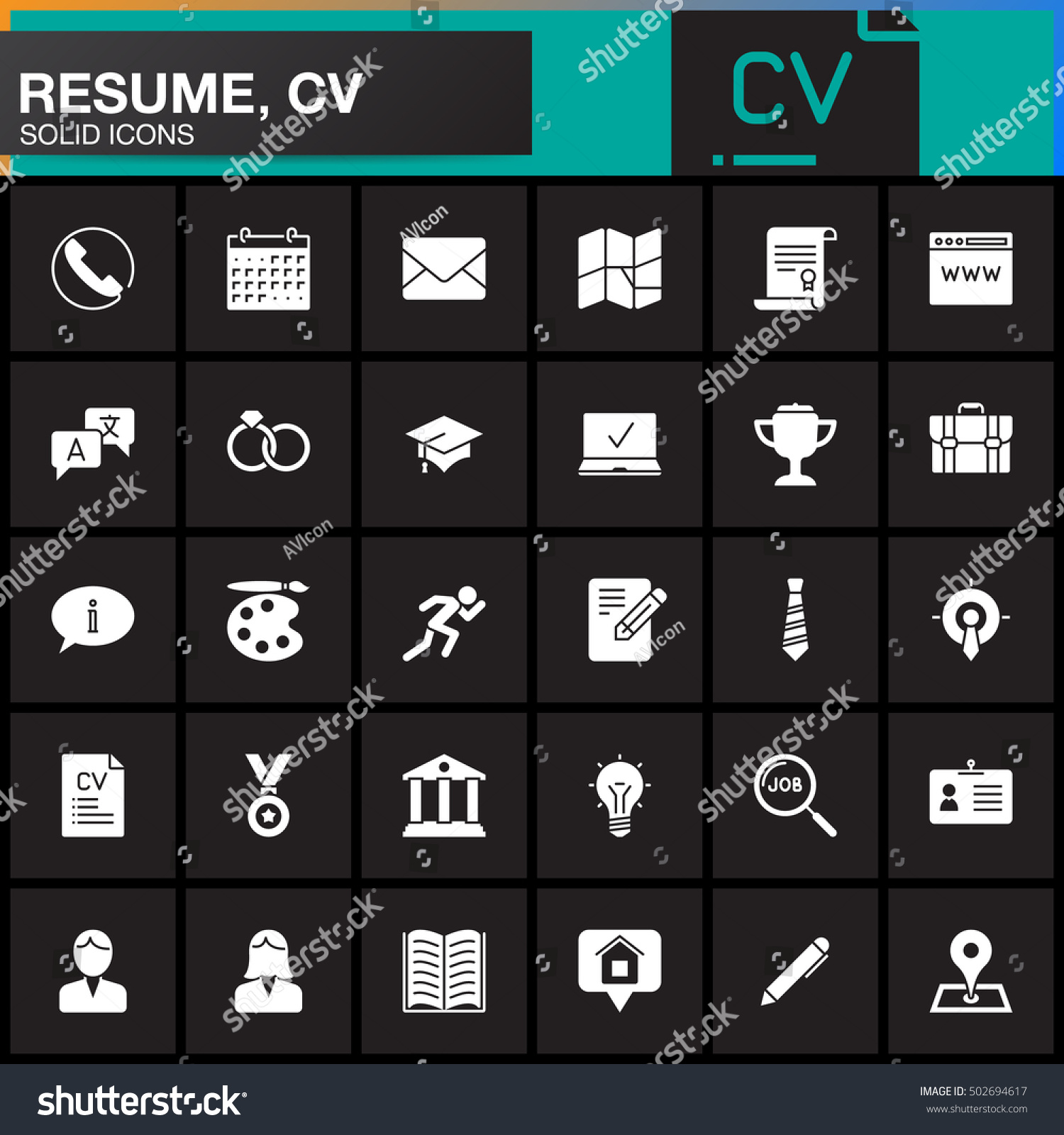 vector icons set resume cv modern stock vector 502694617