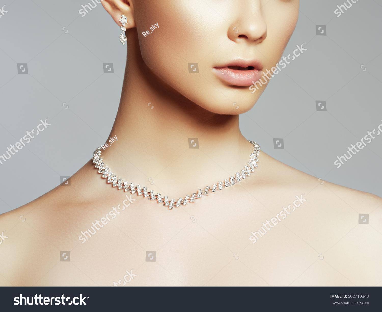 Elegant Fashionable Woman Jewelry Beautiful Woman Stock Photo