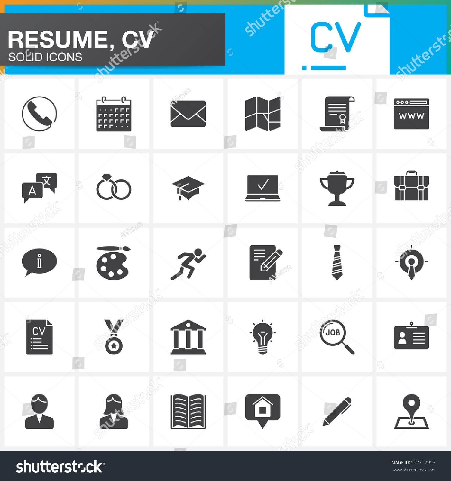 vector icons set resume cv modern stock vector 502712953