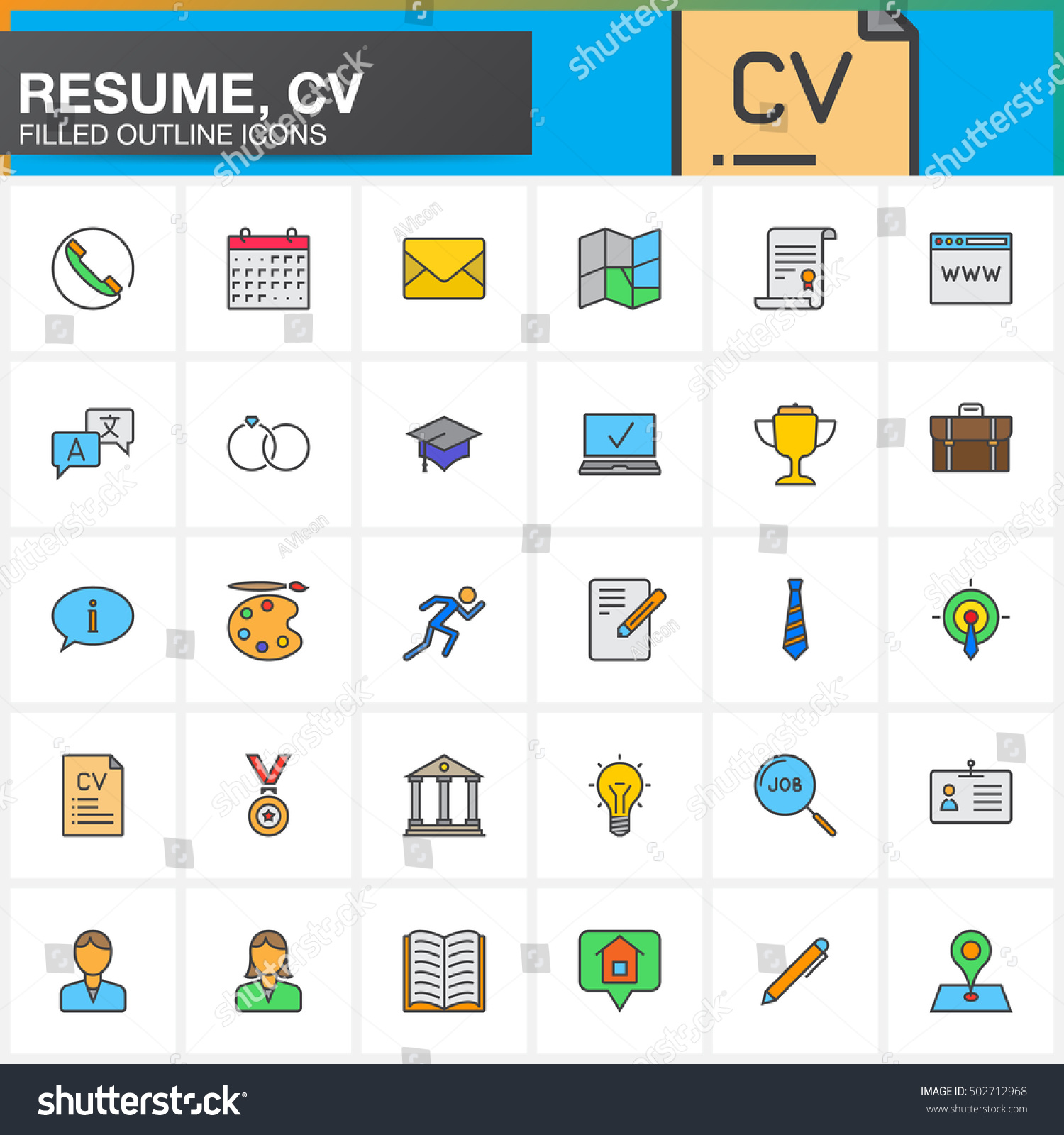 line icons set resume cv filled stock vector 502712968