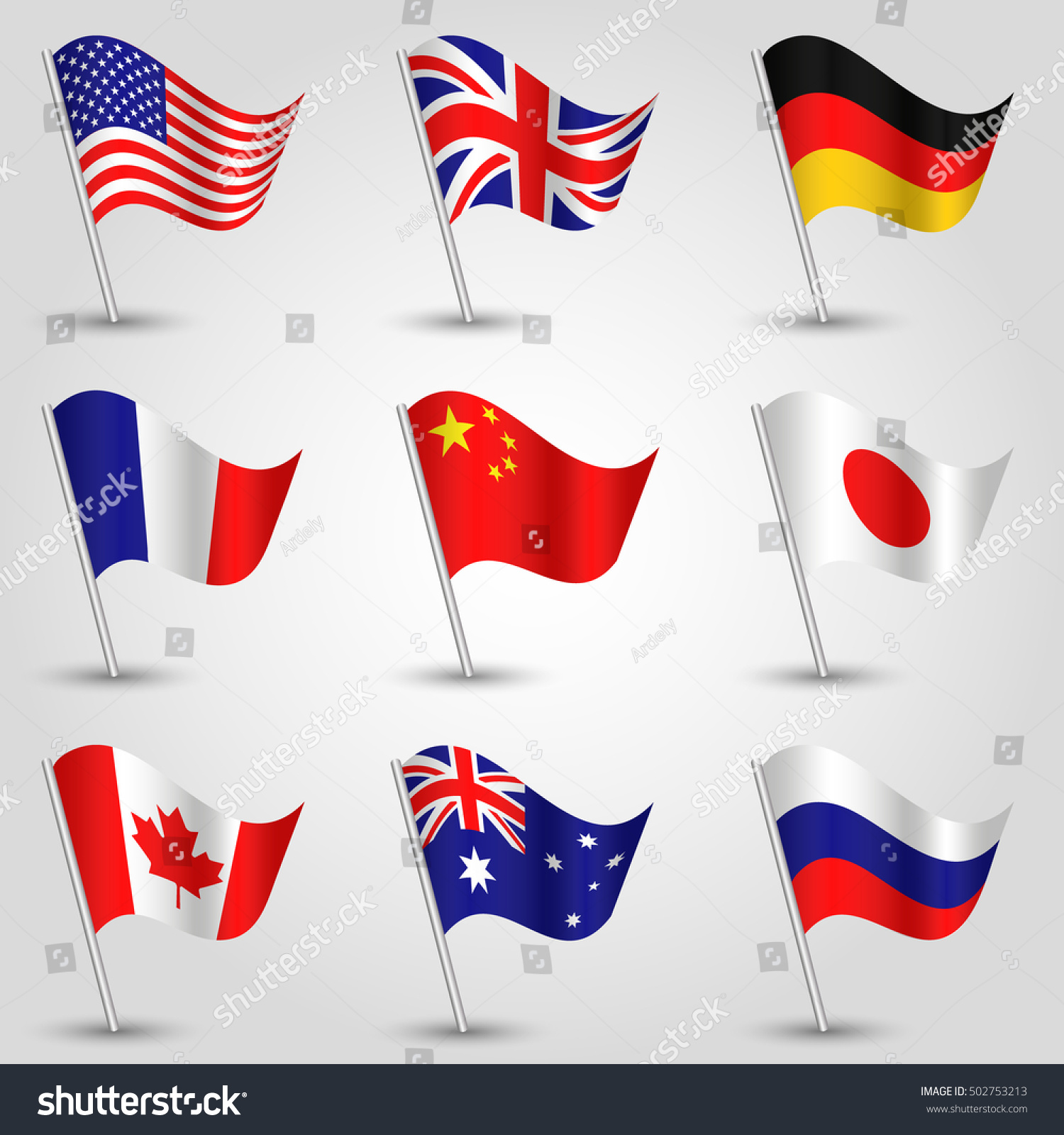 Set Flags American English German French Stock-Vektorgrafik ...
